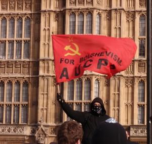 Communist flag flies before Parliament