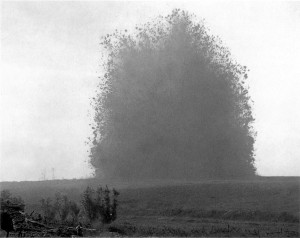 A landmine explodes at Hawthorn Ridge on the first day of the Battle of the Somme, 1st July 1916