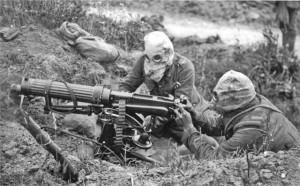 A Vickers machine gun crew wearing gas masks near the Ovillers section of the Somme battlefield, where the 600 men of the 'Grimsby Chums' - 10th Battalion, Lincolnshire Regiment - suffered 500 casualties