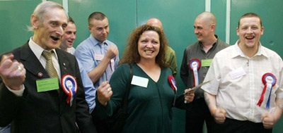 Keith Axon and Sharon Ebanks celebrate a Birmingham BNP 'victory'. This was overturned in the courts and Birmingham activists later formed the short-lived NNP.