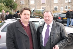 Nick Griffin with his stooge BNP candidate Derek Adams, who achieved the worst parliamentary election result in the history of Oldham BNP