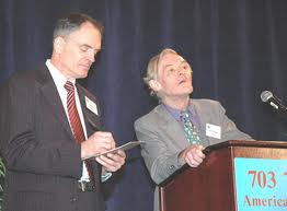 Guillaume Faye (right) addressing a meeting of American Renaissance alongside AR's founder Jared Taylor