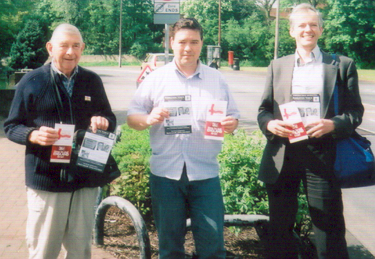 (left to right)  Les Andrews, Mark Cotterill and Peter Rushton campaigning for the England First Party