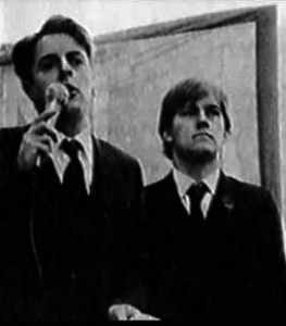Nick Griffin (left) and Patrick Harrington aligned themselves with Fiore and formed a 'political soldier' faction that ousted Martin Webster as National Front organiser before crippling the NF in a series of splits.