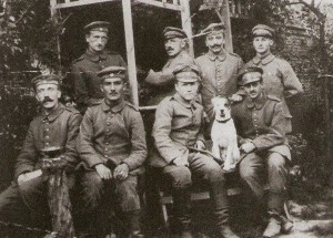 Adolf Hitler (seated right) with comrades from the 16th Bavarian Reserve Regiment