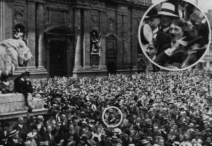 Adolf Hitler (circled) among patriotic crowds celebrating the outbreak of the First World War in Munich, August 1914