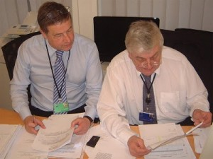 Martin Wingfield and Andrew Brons, seen here in Brons's European parliamentary office in 2010, were in the late 1980s leaders of the anti-Griffin half of the NF
