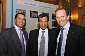 Poju Zabludowicz (centre) hosted the United Jewish Israel Appeal dinner at the Hilton Hotel, London.