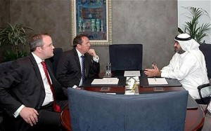 Adam Werritty (left) with Dr Liam Fox (centre) at a meeting in Dubai in 2007