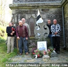 21st century Breton nationalists at the grave of Abbé Perrot, murdered by Communists in 1943