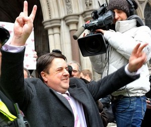 Not waving but drowning: Nick Griffin at an earlier court hearing