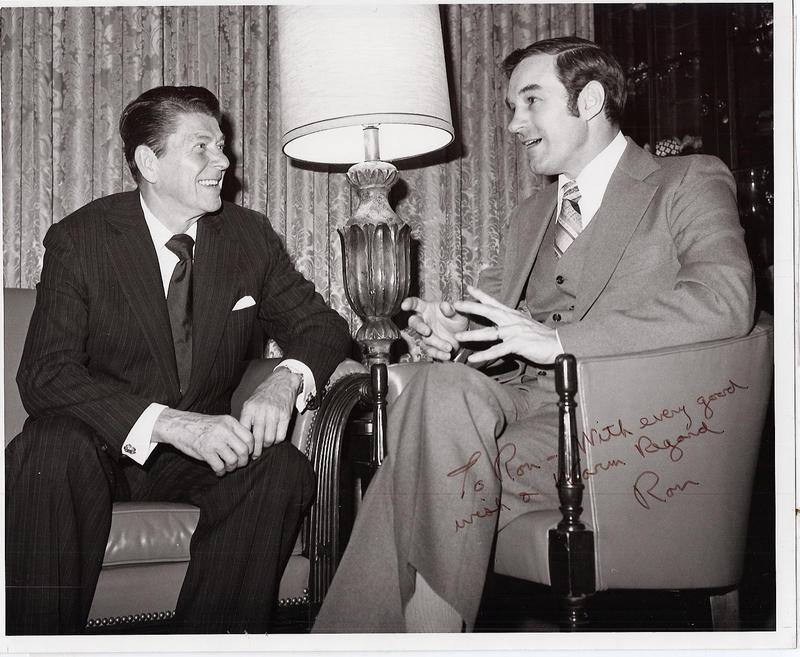 Ron Paul (right) as a young congressman was strongly endorsed by Ronald Reagan, even though Reagan's policies in office diverged from the fiscal conservatism he had espoused in the 1970s.