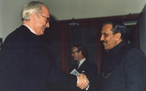 Lord (then Sir Peter) Blaker greeting President Zia of Pakistan