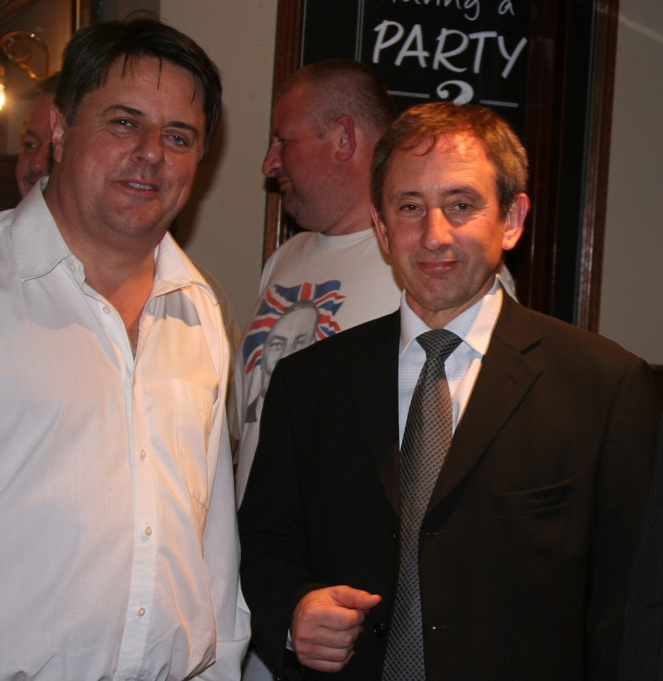 Nick Griffin with hapless mayoral candidate Carlos Cortiglia (right).