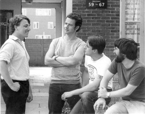 Early 1980s nationalists at the time of the original H&D. (left to right) Joe Pearce, Richard Lawson, Nick Griffin and Steve Brady.