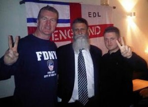 (left to right) Kevin Carroll, Californian rabbi Nachum Shifren, and EDL leader Stephen Yaxley-Lennon, alias Tommy Robinson