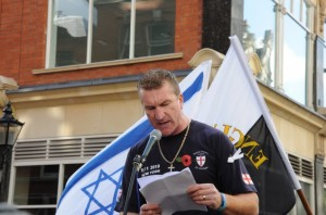 Arch-Zionist and EDL deputy leader Kevin Carroll addressing an EDL rally before launching his campaign to be Police Commissioner of Bedfordshire.