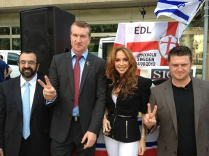"Kevin Carroll and ""Tommy Robinson"" with two of America's most notorious Zionist promoters of the Islamo-obsessive agenda, Robert Spencer and Pamela Geller"