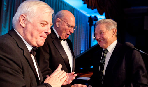 Chris Patten (left) is one of the leading figures in the liberal new world order. He is seen here with his fellow co-chair of the International Crisis Group, former US Ambassador Tom Pickering (centre), and the ICG's main sponsor – notorious international financier George Soros (right).