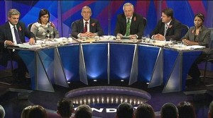Baroness Warsi (second left) on BBC TV's 'Question Time' with then BNP leader Nick Griffin.
