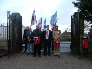 Representatives of two now defunct nationalist parties – the British Peoples Party and the England First Party – lay wreaths at the War Memorial in Darwen, Lancashire, on Armistice Day 2006. Delegates included veteran nationalist Eddy Morrison (front row, far left) and then EFP councillors Mark Cotterill and Michael Johnson.
