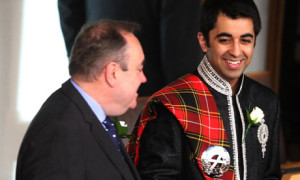The Scottish National Party's Alex Salmond and Hamza Yousaf prior to a swearing-in ceremony at the Scottish Parliament.