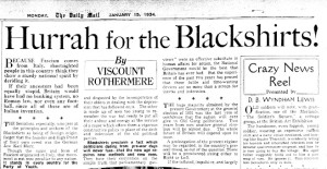 Lord Rothermere's article praising Sir Oswald Mosley's BUF