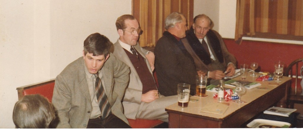 Kidderminster NF branch meeting in 1979, activists include Michael Carr (far left), Wilf Evans (second right), Reg Brooks (whose widow Judith left one of the first major legacies to the Griffin-era BNP).
