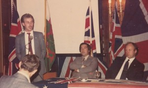 1984 BNP annual rally in central London (from left to right) - Ian Sloan (Liverpool organiser); Tony Braithwaite (Hull organiser) and JT.