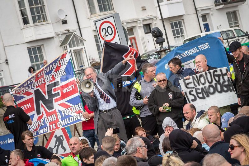 Richard Edmonds addresses the NF's anti-immigration demo in Dover yesterday