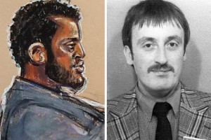 Murdered policeman Keith Blakelock (left) and a court reporter's drawing of Nicholas Jacobs, who was cleared of PC Blakelock's murder in 2014.  The killing remains officially unsolved.