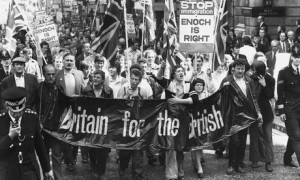 A march to the Home Office in 1972 by Smithfield meat porters protesting at the admission of more than 27,000 Asian immigrants from Uganda.