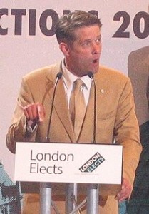 Richard Barnbrook (then of the BNP) gives his victory speech after election to the GLA in 2008.