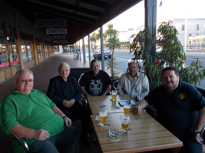 Jock Spooner (far left) with comrades (left to right) Dr Fredrick Toben, Joseph Smith, Peter Hartung and Dave Astin at the Newmarket Hotel in Port Adelaide, South Australia, in 2015.