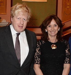 London Mayor Boris Johnson with Anita Zabludowicz, wife of Zionist lobby boss and Tory donor Poju Zabludowicz.