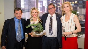 "Poju Zablodowicz (far left) with the Finnish Foreign Minister, Timo Soini, at a New York reception. Soini is  often portrayed as one of Europe's ""extreme right wingers"" but is fanatically pro-Israel."