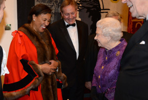 Baroness Scotland (as Commonwealth Secretary General) meeting the Queen at a Guildhall banquet in March 2016