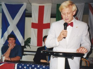 Todd Blodgett addressing an AF-BNP meeting in Arlington, Virginia in July 1999. Don Black the webmaster of Stormfront is seated to his left.