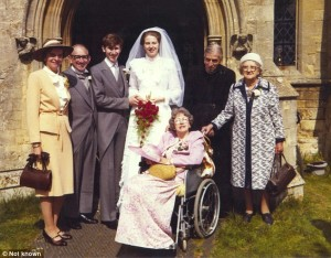 The wedding of Theresa and Philip May at her father's church in Oxfordshire. mrs May's father, the Rev. Hubert Brasier, stands second right with Mrs Brasier, by then confined to a wheelchair.