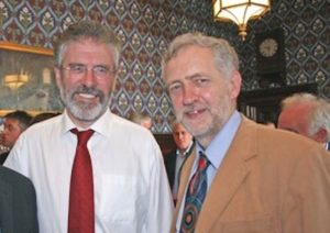 Gerry Adams with Labour Party leader Jeremy Corbyn (right).