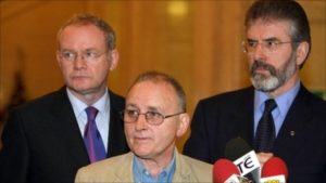 Denis Donaldson (centre) with his IRA employers Martin McGuinness and Gerry Adams. Donaldson was murdered by the IRA after confessing to his role as a British agent in 2005.