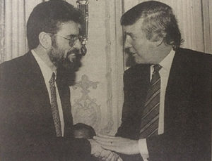 Gerry Adams (left) with Donald Trump at a Sinn Fein fundraiser in New York in March 1995.