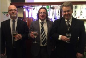 Richard Perry (centre) celebrates with newly elected councillors Ashley Jones and Trevor Cable, who represent the 'Fighting Unsustainable Housing' group - not the BNP.