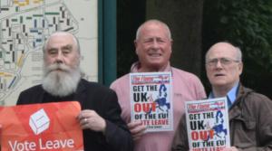 Steve Tyler (left) with fellow NF Brexit campaigners John Jones and Derek Beackon in June 2016