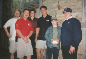 Derek Black (second right) with a group of racial nationalists after the 2000 AFBNP 'Red, White & Blue' festival in Port St Lucie, Florida. Others present include then AFBNP webmaster Carl Clifford, AFBNP chairman Mark Cotterill, Don Black, and international guest speaker Paul Thompson, from Darlington BNP.