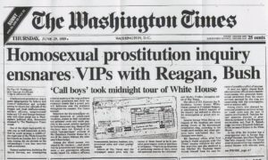The Washington Times lead story in 1989 that exposed Todd Blodgett and his vice ring colleagues.