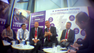 Disgraced Embassy 'political officer' Shai Masot (second left) with Israeli Ambassador Mark Regev (fourth left) at the Labour Party conference last year, a few days before his secretly filmed conversation plotting against Sir Alan Duncan.