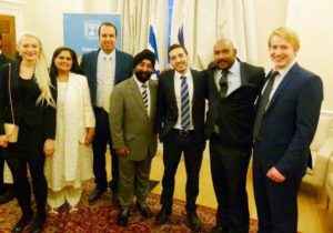 Disgraced Israeli Embassy officer Shai Masot (third right) at an event he organised for the Conservative Muslim Forum at the Embassy in July 2016. Also in the photo (second left) is CMF Executive member Halimah Khaled MBE, a Tory councillor in Broxtowe, Nottinghamshire.