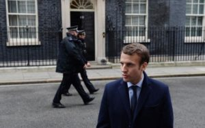 Liberal media favourite Emmanuel Macron during his visit to Downing St this week: he now looks most likely to face Marine Le Pen in the second ballot run-off for the Presidency.