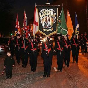The St Patrick's Day parade in Killylea, led by Cormeen Rising Sons of William Flute Band